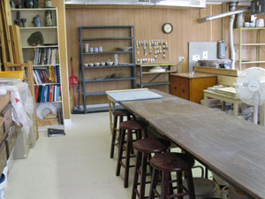 A neat space to work in at Peace of Earth Pottery